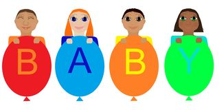 Babies of different nationalities. EPS 10 royalty free illustration