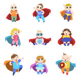Babies Dressed As Superheroes Set Stock Photography