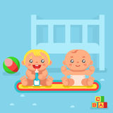 Babies drinking milk nursery flat design vector illustration Stock Photography