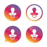 Babies dummy sign icon. Child pacifier symbol. Stock Photos