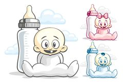 Babies and feeding bottle Stock Images