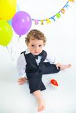 Babies' first birthday one year. Royalty Free Stock Photography