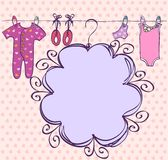 Babies frame. Cute hand drawn scrapbook  with baby elements Royalty Free Stock Image