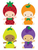 Babies in Fruit Costumes. Vector illustration of smiling babies in strawberry, orange, pear, and grape costumes Stock Photos