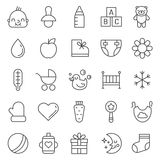 Babies (girl and boy) things outline cute icons vector set. Modern minimalistic design. Stock Images