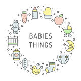Babies (girl and boy) things outline multicolored cute vector circle frame background. Minimalistic design. Part one. Stock Photography