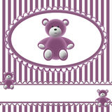 Babies girls background with bear. In pink tone Royalty Free Stock Image