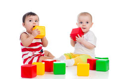 Babies girls playing royalty free stock photography