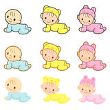 Babies are going forward gear. Home and Family Character Design Stock Photography