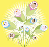 Babies grow. Illustration of a babies growing on a buch Royalty Free Stock Photo