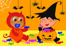 Babies at Halloween party. Vector illustration of two cute babies from different races are playing with Halloween candies Royalty Free Stock Images