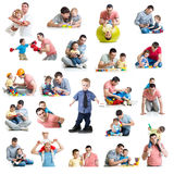 Babies and kids collage with dads. Paternity and fatherhood con. Babies and children collage with dads. Paternity and fatherhood concept. Isolated on white stock images