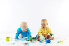 Babies painting Royalty Free Stock Photography