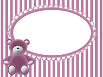 Babies pink background with bear. Babies pink background with frame for photo and bear Stock Images