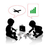 Babies planning a business travel Royalty Free Stock Photography