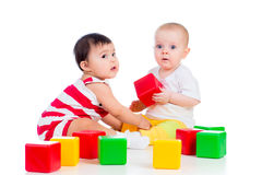 Babies play block toy Royalty Free Stock Photos