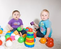 Babies Play With Toys Stock Photo