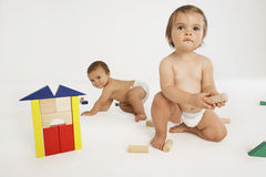 Babies Playing With Building Blocks Royalty Free Stock Image