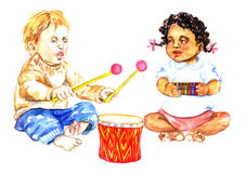 Babies playing drums and harmonica, child's music band. Hand Painted Watercolor Illustration Babies playing drums and harmonica, child's music band Royalty Free Stock Image