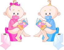 Babies Potty Training Royalty Free Stock Images