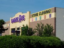 Babies R Us Store Closing. A Babies R Us with store closing sign in June, 2018. Another brick and mortar business gone bankrupt and going out of business Stock Photography