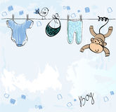 Babies scrapbook. Cute scrapbook  for boy with baby elements Stock Photography
