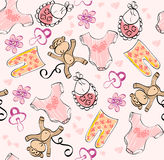 Babies scrapbook. Seamless pattern  for girl with baby elements Stock Photo