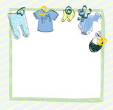 Babies scrapbook. Cute scrapbook  for boy with baby elements Royalty Free Stock Photos