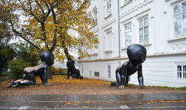 Babies. Sculpture Babies by David Cerny in the Kampa park in Praha (Prague stock photo