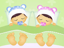 Babies sleeping in the bed. Illustration of babies sleeping in the bed Royalty Free Stock Photo