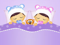 Babies sleeping in the bed Royalty Free Stock Images