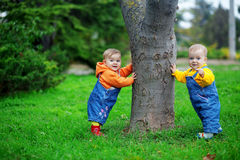 Babies standing. Cute twins babies standing on fresh green grass in park near tree Royalty Free Stock Photo