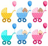Babies in strollers, different, boy, girl, South Asia, Africa. Stock Image