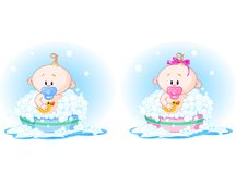 Babies taking a bath Royalty Free Stock Photography