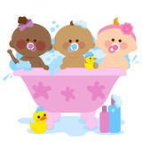 Babies taking a bath. Vector illustration of three cute babies in a bath tub taking a bubble bath and playing with their rubber duck toys Royalty Free Stock Photo