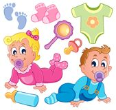 Babies theme collection 2 stock illustration