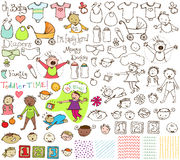 Babies and Toddlers Hand Drawn Collection Stock Photos