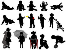 Babies and toddlers silhouettes collection Royalty Free Stock Photos