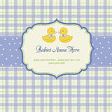 Babies twins shower card. Delicate babies twins shower card Stock Photos