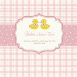 Babies twins shower card Royalty Free Stock Photo