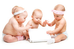 Babies Working At Laptop Stock Photos