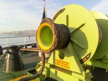 Babina with a sea mooring rope. Mooring on the ship royalty free stock photo