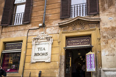 Babington`s Famous Tearooms at the foot of the Spanish Steps with its Egyptian obelisk in Rome Italy. Rome Italy, the Eternal city, which has been a destination Royalty Free Stock Photo