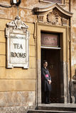 Babingtons tea room. Waitress. Spanish Steps, Rome. Italy. Babingtons tea room is a traditional English tea shop at the foot of the Spanish Steps, in the Piazza Stock Image