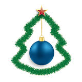 Babiole de bleu d'arbre de Noël de brindilles de sapin Photographie stock
