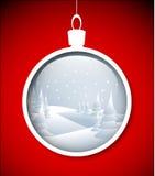 Babiole de Noël de vecteur avec l'horizontal neigeux Photographie stock
