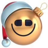 Babiole de nouvelle année de boule de Noël de sourire Photographie stock libre de droits
