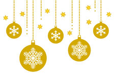 Babiole et flocon de neige d'or sur le fond blanc avec des étoiles illustration stock