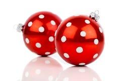 Babiole rouge de Noël de point de polka Photos stock