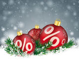 Babioles de Gray Christmas Snowflakes Red Sale Photos libres de droits
